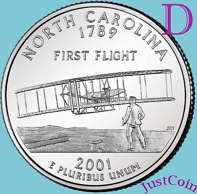 2001-D NORTH CAROLINA NC STATE QUARTER UNCIRCULATED FROM MINT ROLL*STATE -
