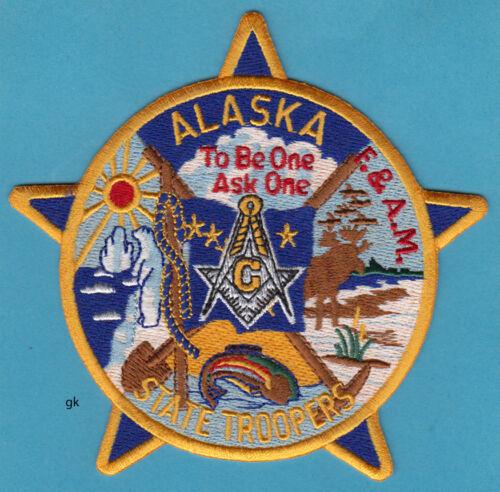ALASKA  STATE TROOPER MASON MASONIC  POLICE SHOULDER PATCH