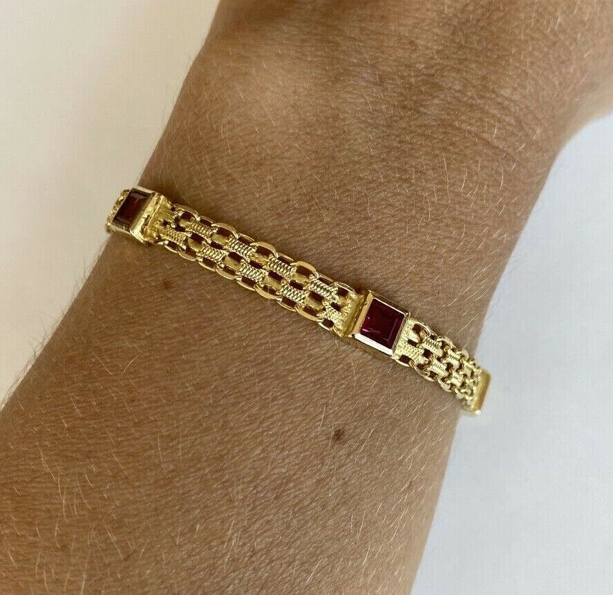 14k Yellow Gold w/ Colored Stones Women's Bracelet 6.3mm  7 1/4 Inches PRETTY!!! 4