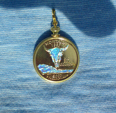 Montana Holographic Pendant & Necklace Gold Plated Coin Fashion Jewelry
