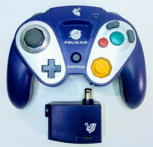 Gamecube Indigo Pelican G3 Wireless Controller w/ Receiver Tested Purple