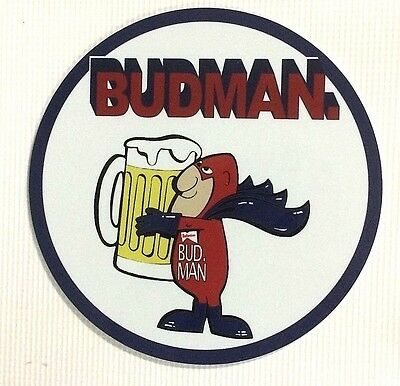 "Budweiser Beer ""Budman"" 7"" Round Metal Sign"