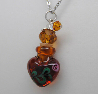Cremation Jewelry, Amber Art Glass Urn Necklace, Rose Design || Ashes Keepsake Rose Design Urn