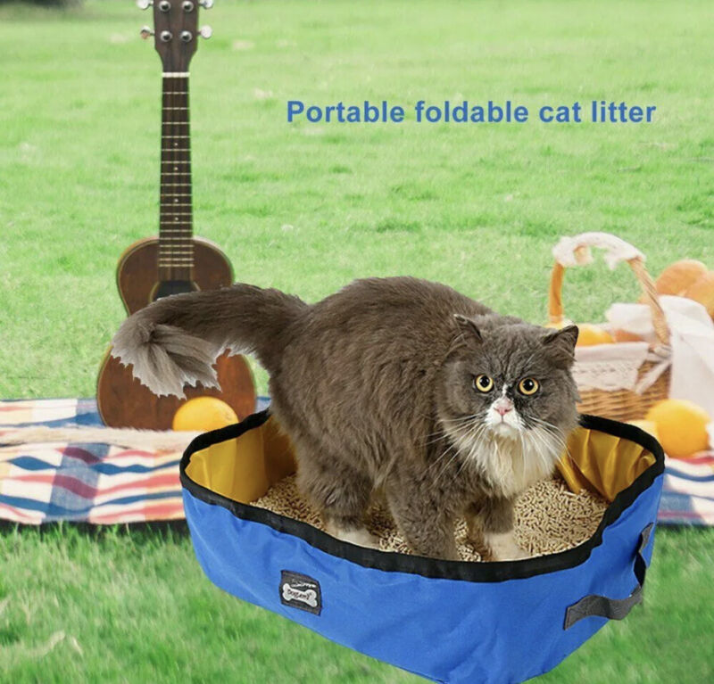 Portable Cat Litter Box  Travel Toilet Waterproof Outdoor Foldable