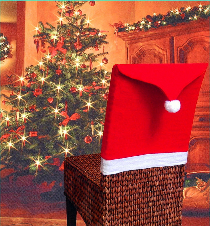 Red Xmas Christmas Chair Covers Dinner Table Santa Hat Ornament Home Decor GW