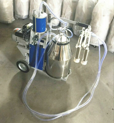 Piston Milker Electric Milking Machine Stainless Steel Bucket Cows Goats Farm