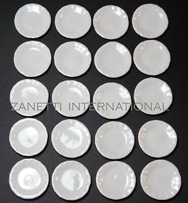 20-Piece Dollhouse Miniature 1-inch Ceramic White Plates / Dishes Set *Doll Mini
