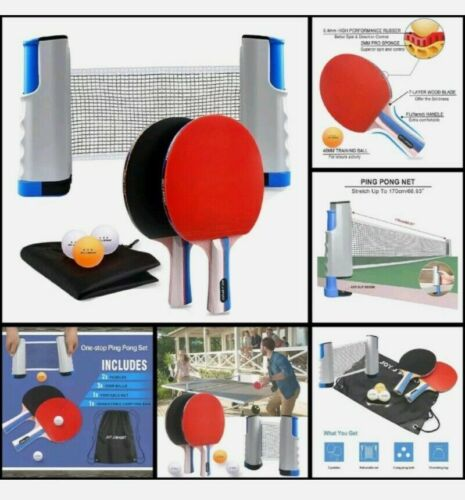 Joy. J Sport Ping Pong Paddle Set with Retractable Net - 2 Premium Table Rackets