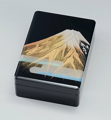 Japanese URUSHI lacquered book box, wooden, gold-inlaid Mt. Fuji