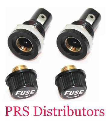 Panel Mount Chassis Fuse Holder Base 5x20mm Glass Fuse Screw-Off Type TWO - Mount Fuse Holder