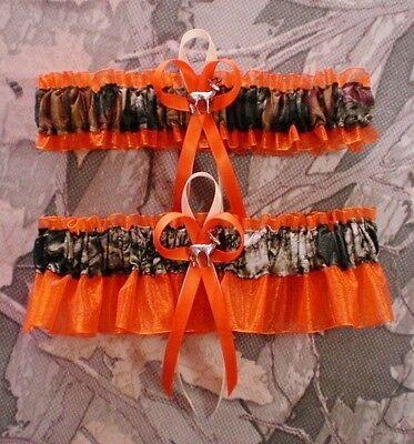 Mossy Oak Orange  Wedding Garter Set Camouflage Camo Deer Hunting Hunter - Camo Garter Set