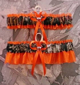 Mossy Oak Orange  Wedding Garter Set Camouflage Camo Deer Hunting Hunter