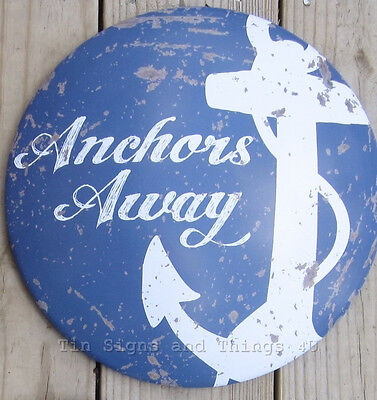 Anchors Away metal TIN SIGN rustic vintage nautical coastal wall art bar decor