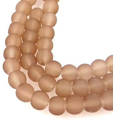 50 Czech Frosted Sea Glass Round / Rocaille Beads Matte - Camel 6mm