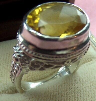 Antique Style 925 Sterling Silver Oval Shape 16x10 Natural Citrine Ring skaisM18