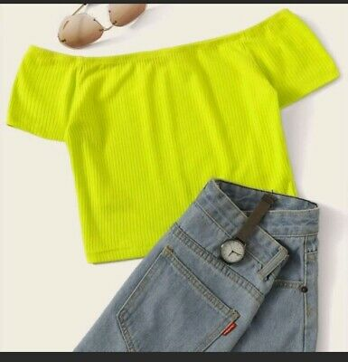 Neon Lime Off Shoulder Rib Knit Crop Tee. Fast Free Shipping USPS Off Shoulder Crop