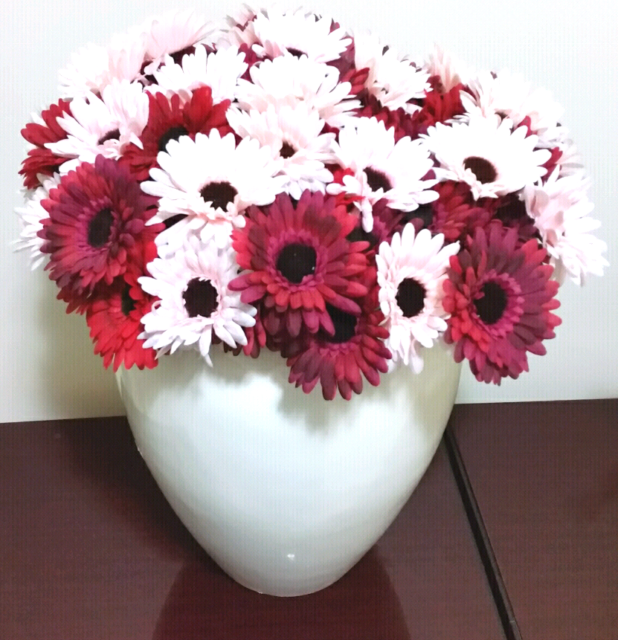 Large 60cm Lightweight Planter With A Bed Of Red47pink Gerberas