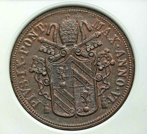 1851 R PAPAL STATES PIUS IX COPPER 5 BAIOCCHI NGC MS-62 BROWN