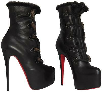 NWB CHRISTIAN LOUBOUTIN Oulanbator Leather Shearling Platform Daf Ankle Boot 36
