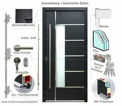 Haustür Welthaus WH75 Aluminium mit Kunststoff LA40 Frankfurt Tür Eingangstür