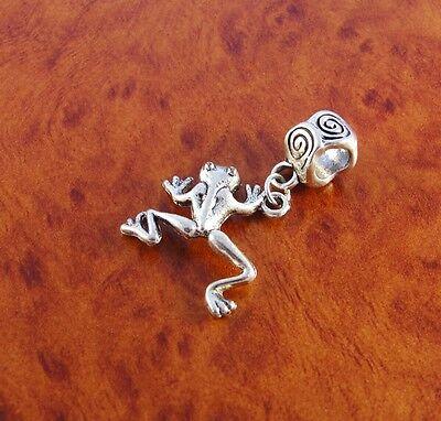 - Frog dangle charm slider bead for silver European charm bracelet or necklace