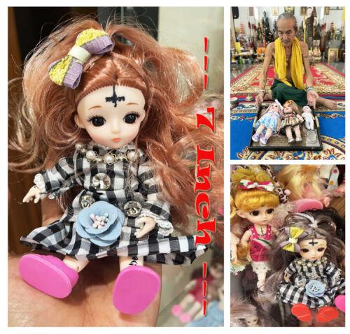 "Thai Amulet Charming Luk Thep Doll Kuman Thong Size 7"" Power Wealth By Aj Kom"