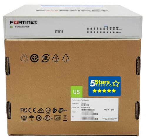 Fortinet FortiGate 60F Secure SD-WAN/Firewall Appliance (FG-60F) Brand New
