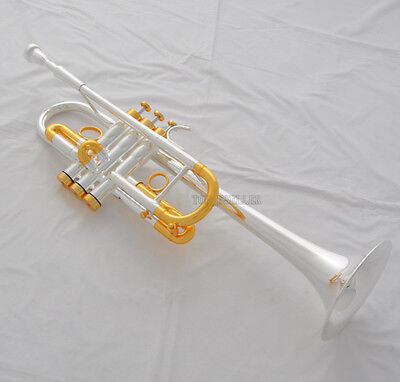 Professional Silver Gold Heavy C Key Trumpet Horn Monel Valve 5'' Bell With Case for sale  Shipping to Canada