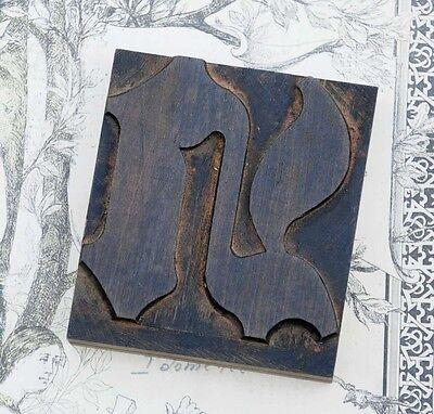 Letter N Blackletter Wood Type 3.54 Woodtype Font Letterpress Printing Block