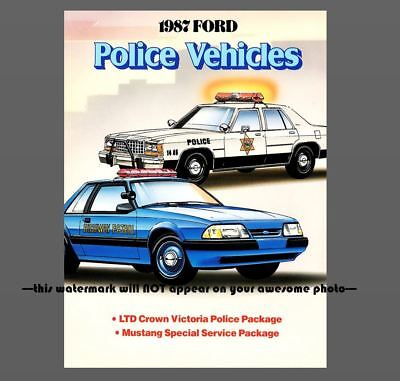 1987 FORD Police Cars PHOTO Mustang Crown Victoria Vintage Ad Policeman