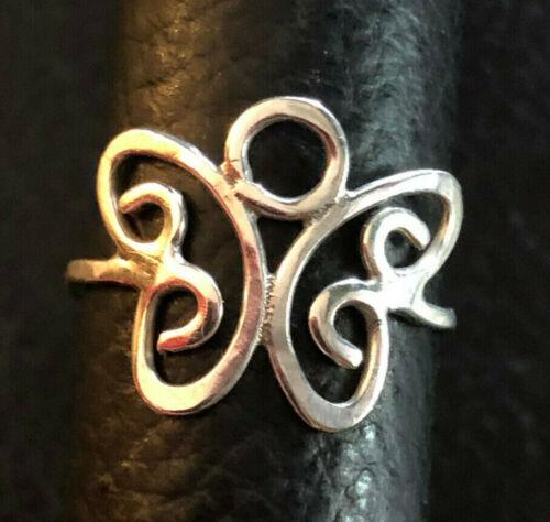 VTG Sterling Silver Ring Butterfly Handmade Sz 7.5 1.2g 925 #958