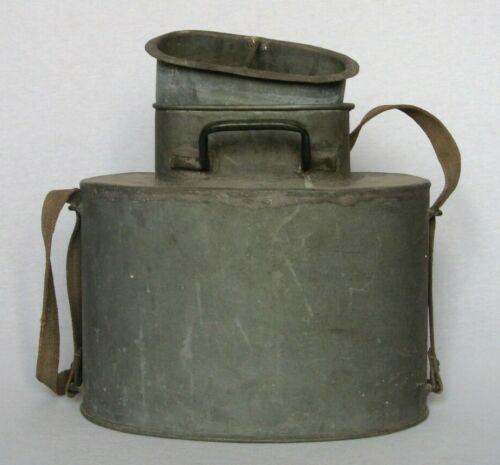 Large Vintage French Zinc Fishing Creel Bait Bucket & Original Shoulder Strap