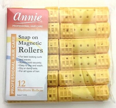 "BRAND NEW ANNIE #1223 YELLOW 12ct MEDIUM SNAP ON MAGNETIC ROLLERS 3/4"" DIAMETER"
