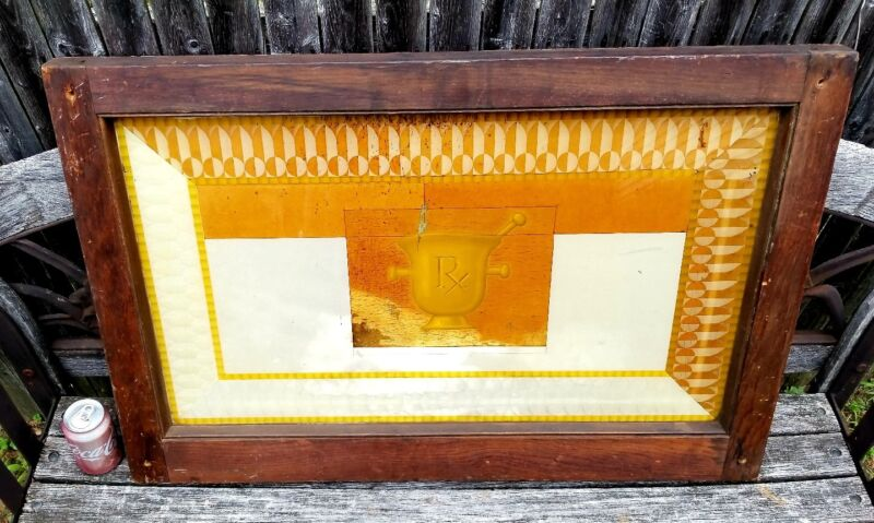 1920s Art Deco Medical Pharmacist Transom Architectural Salvaged Window