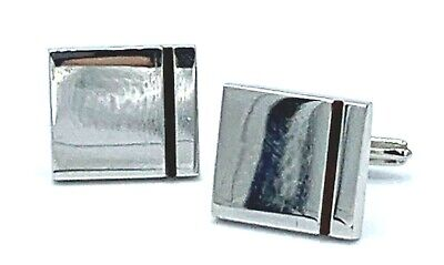 Dunhill Square Brown Stripe 925 Sterling Silver Men's Cufflink's Gift ()