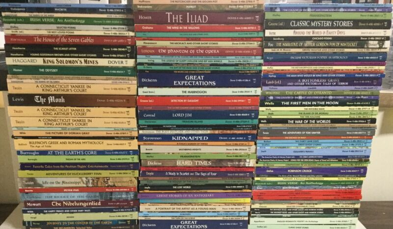 Dover Thrift Editions Huge 121 Book Lot Like New Some Duplicates Classics B1