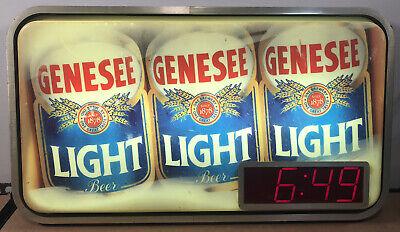 Vintage Genesee Light Beer Light-Up Bar Sign w/ Clock - Works Well, Nice Shape