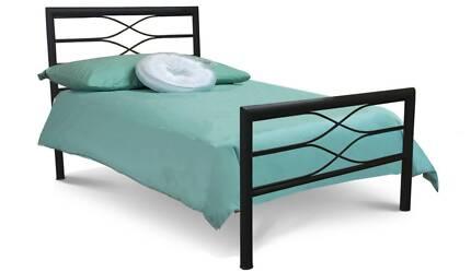 King Single All Metal Bed - Black