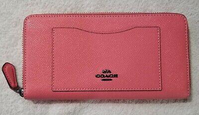 Coach Women's Crossgrain Leather Accordion Zip Wallet in pink lemonade - nwt