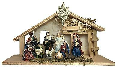 Nativity Set - House Set of 11 Nativity Figurines - Baby Jesus, Mary, Joseph, Sh - Child Nativity Set