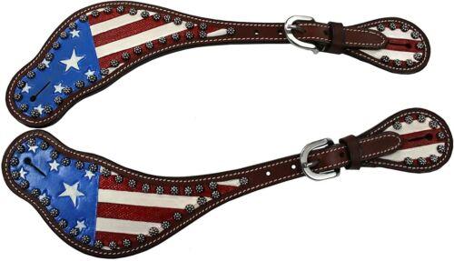 Tahoe Patriotic American Flag Leather Western Spur Straps - Pair Men