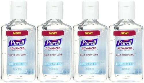Purell Advanced Hand Sanitizer Refreshing Gel, 1 FL OZ  - Pack of 4 (Total 4 oz)
