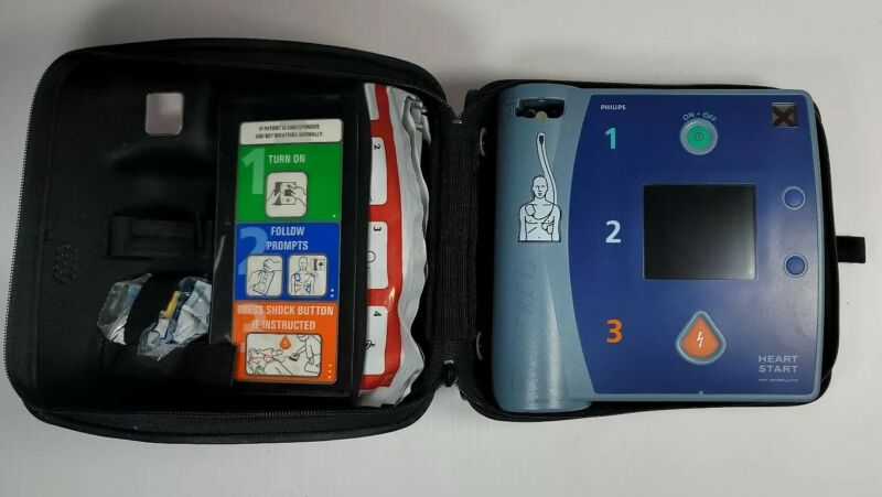 PHILIPS HEARTSTART FR2+ AED DEFIBRILLATOR,  PARTS OR REPAIR UNTESTED AS IS #S-A