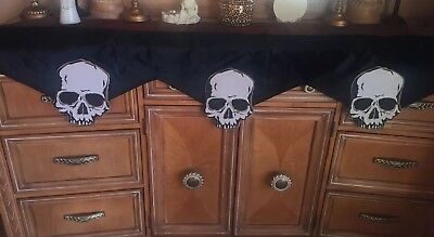 Halloween Skull Black Goth Fireplace Mantel Scarf Home Decor (Halloween Mantel Decor)