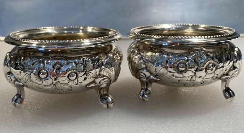 Rare Antique Charters Cann & Dunn NYC 19th C. Repousse Footed Open Salt Cellars