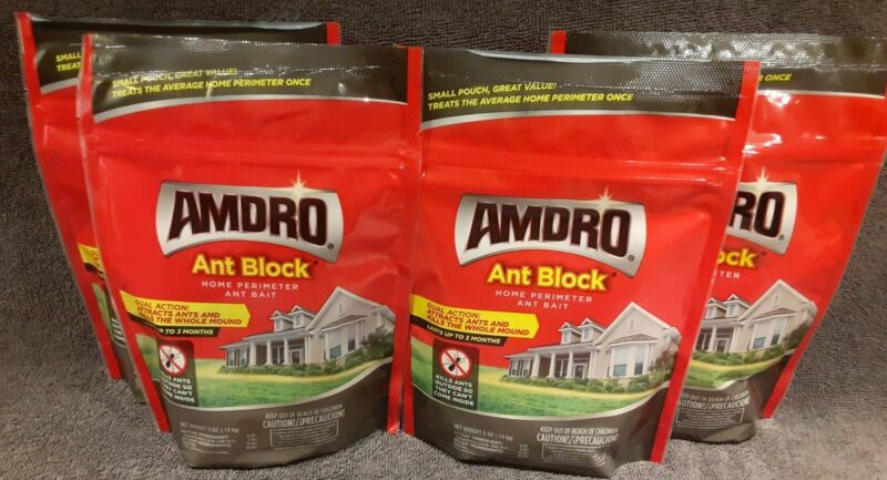 4 Amdro ANT BLOCK Home Perimeter 5oz Dual Action Ant Bait Granules Outdoor Use