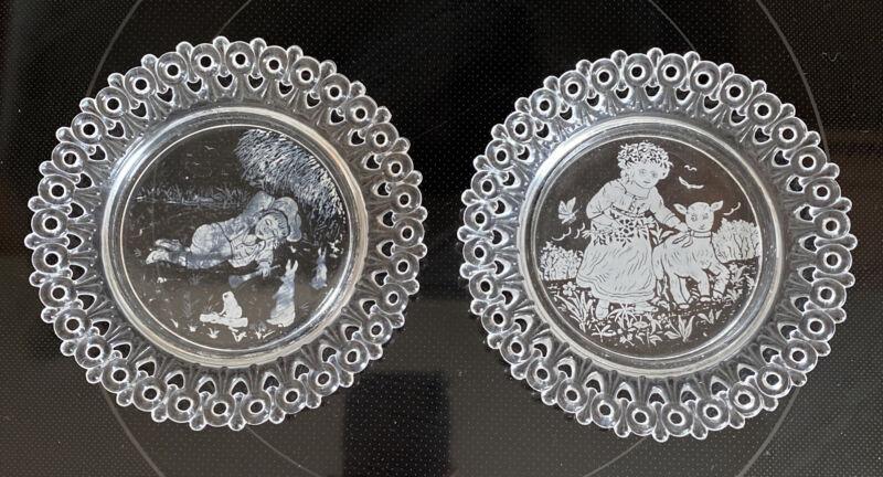 2 Antique 1889 Egg & Dart EAPG Pair Nursery Rhyme Glass Child