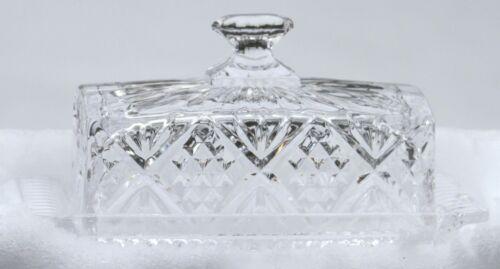Vintage Crystal Butter Dish & Lid  -Diamonds & Stars