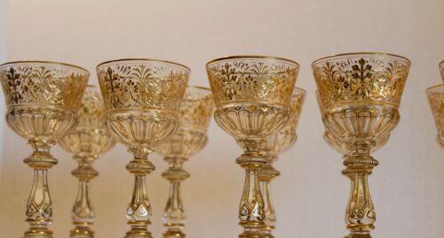 RARE & BEAUTIFUL SET OF MOSER GOLD GLASS SERVICE 19TH CENTURY