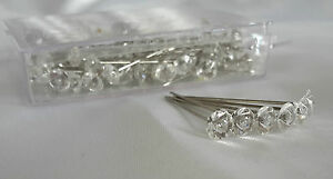 100 DIAMONTE/DIAMANTE STYLE PINS 4CM / 1.5 INCH -WEDDING BUTTONHOLE CORSAGE